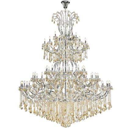 2803G120C-GS/RC Maria Theresa 84 Light Chrome Chandelier With Golden Shadow Tear Drop Crystals Golden Shadow (Champagne) Royal Cut
