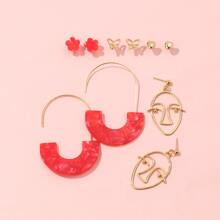 5pairs Abstract Face & Geo Earring Set