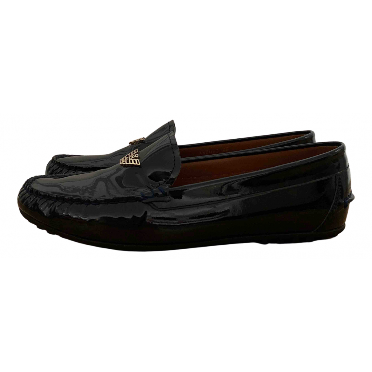 Emporio Armani N Navy Patent leather Flats for Women 38 EU