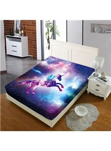 A Leaping Unicorn In The Purple Galaxy Reactive Printing 1-Piece Polyester Bed Cover / Mattress Cover