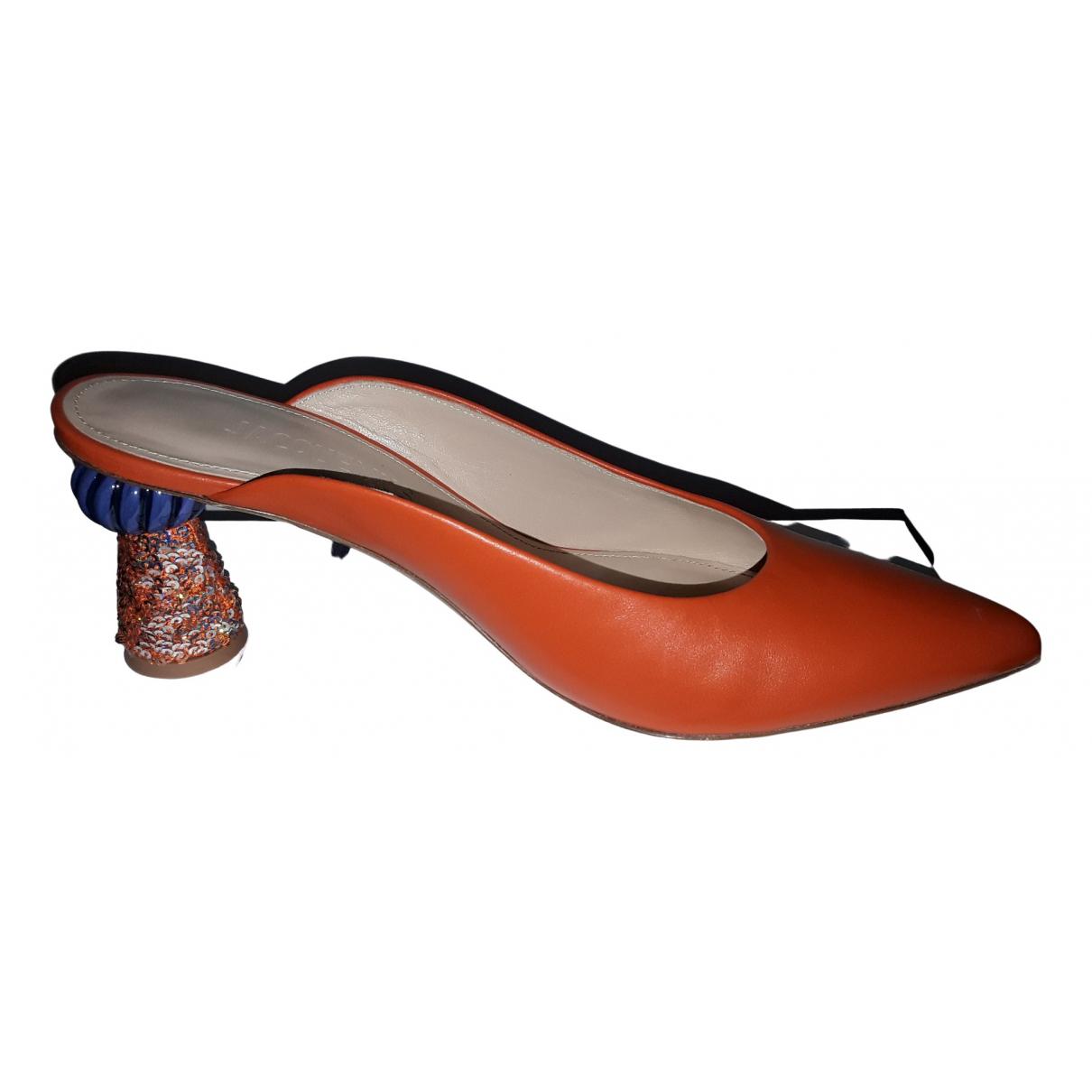 Jacquemus - Sandales   pour femme en cuir - orange