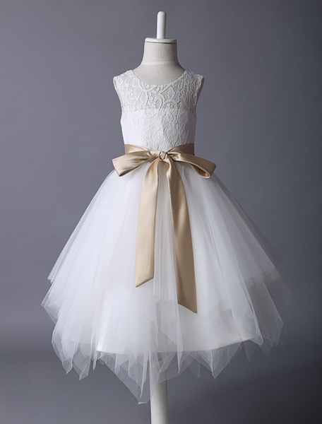 Milanoo Flower Girl Dress Lace Ivory Tutu Dress Satin Ribbon Bow Sash Illusion Kids Party Dress