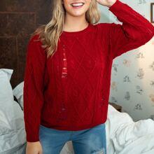 Pullover mit Riss und sehr tief angesetzter Schulterpartie
