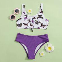 Bikini Badeanzug mit Schmetterling Muster und Knoten