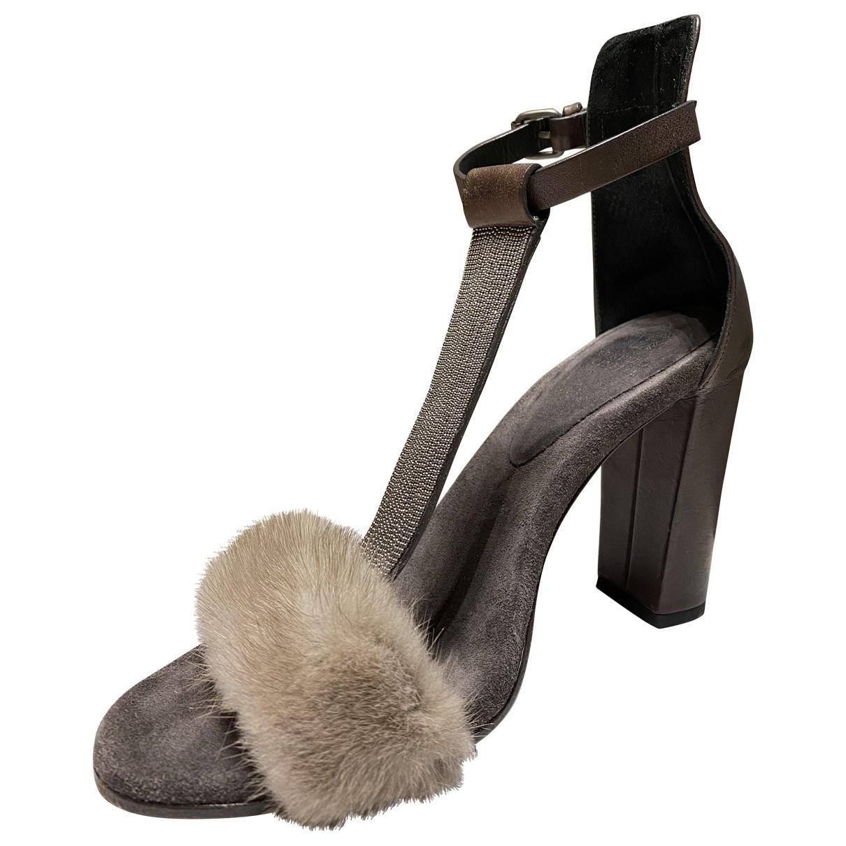 Sandalias de Vison Brunello Cucinelli