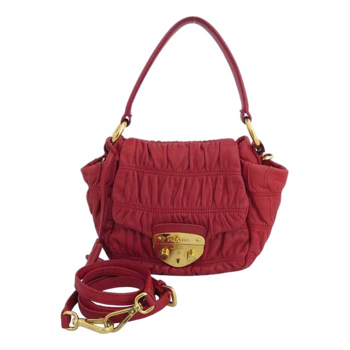 Prada - Sac a main   pour femme en cuir - rouge
