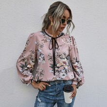 Floral Print Frill Trim Tie Neck Puff Sleeve Blouse