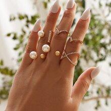 6pcs Rhinestone Decor & Faux Pearl Decor Ring