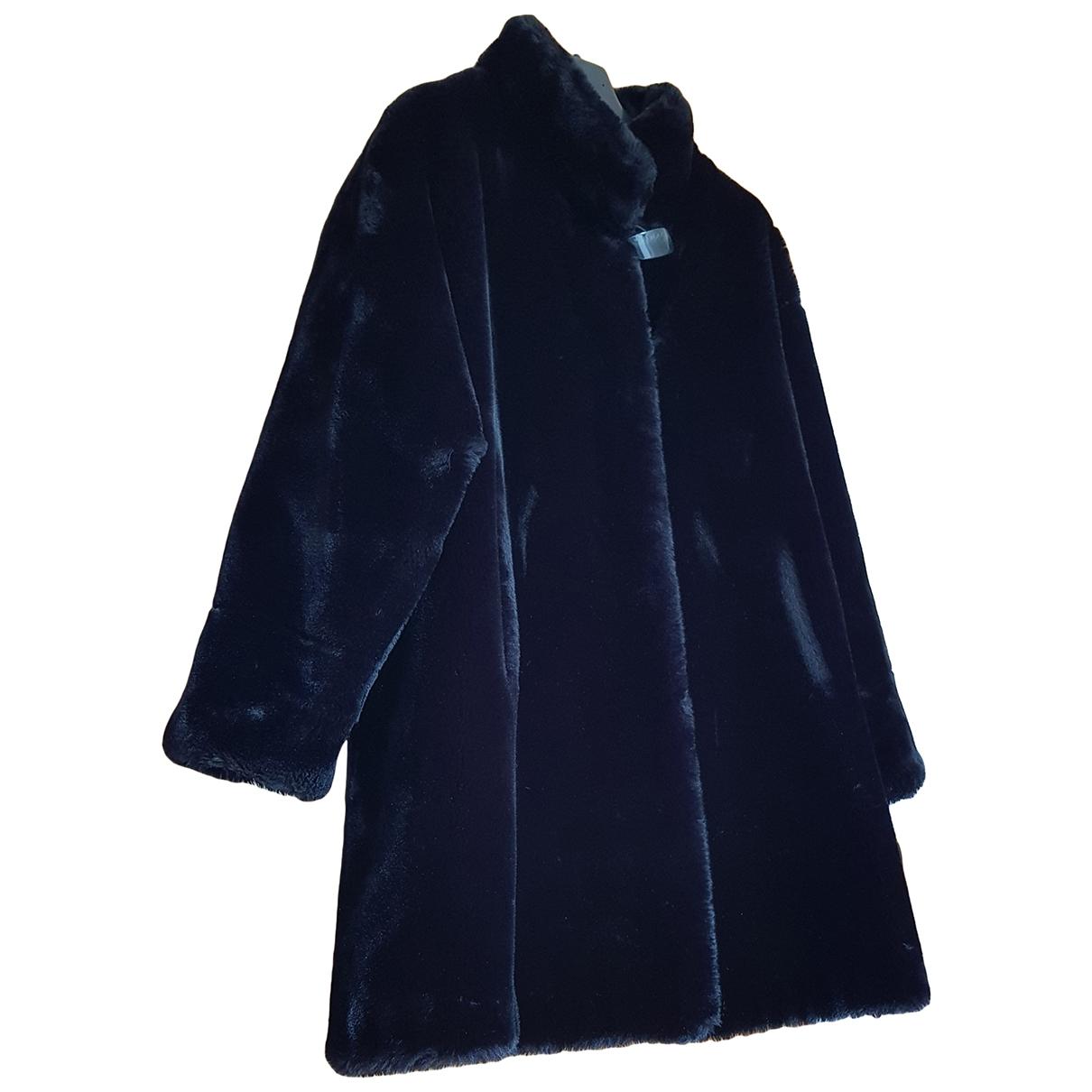 - Veste Oversize pour femme en fourrure synthetique - noir
