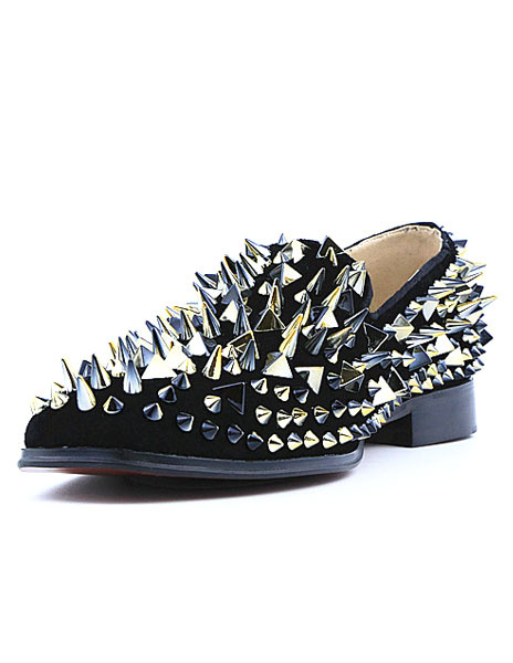 Milanoo Mens Black Spike Loafers Leather Prom Shoes with white Rivets