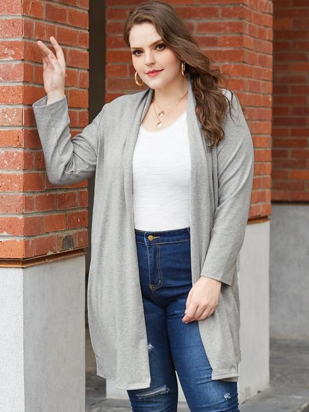 Yoins Plus Size Grey Long Sleeves Cardigan