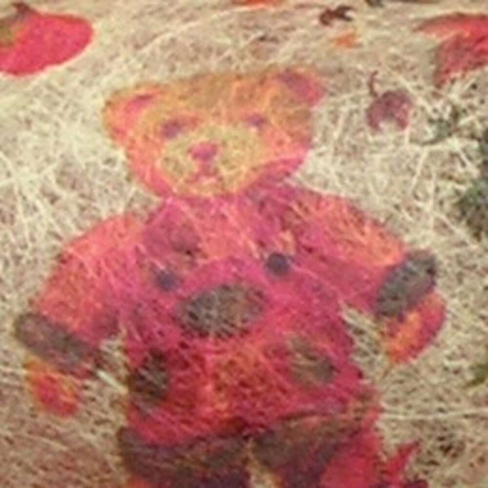 Red, Green and Tan Wired Semi Sheer Antique Style Holiday Teddy Bear Ribbon 2.5