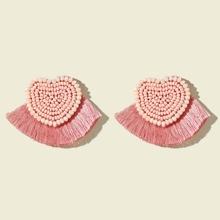 Ohrringe mit Perlen und Quasten Dekor