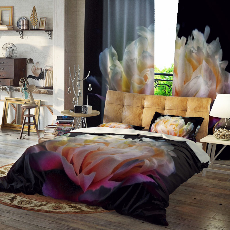 Floral Duvet Cover Set Reactive Printing Colorfast Wear-resistant Three-Piece Set Polyester Bedding Sets
