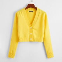 Button Fly Crop Cardigan