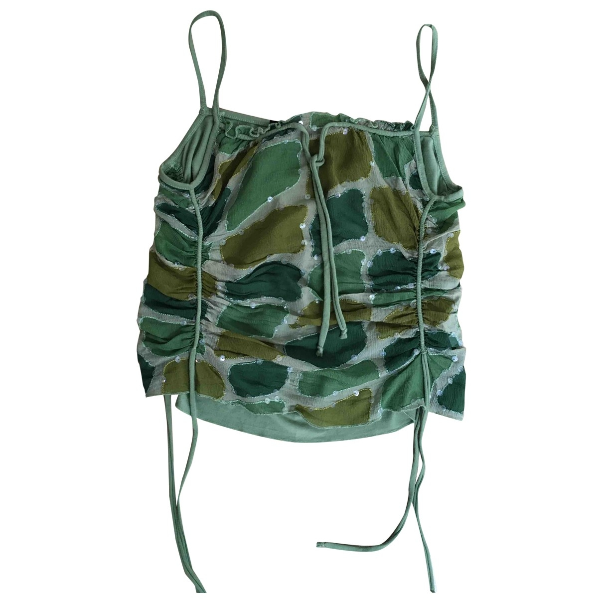 Non Signé / Unsigned \N Green Silk  top for Women 44 IT