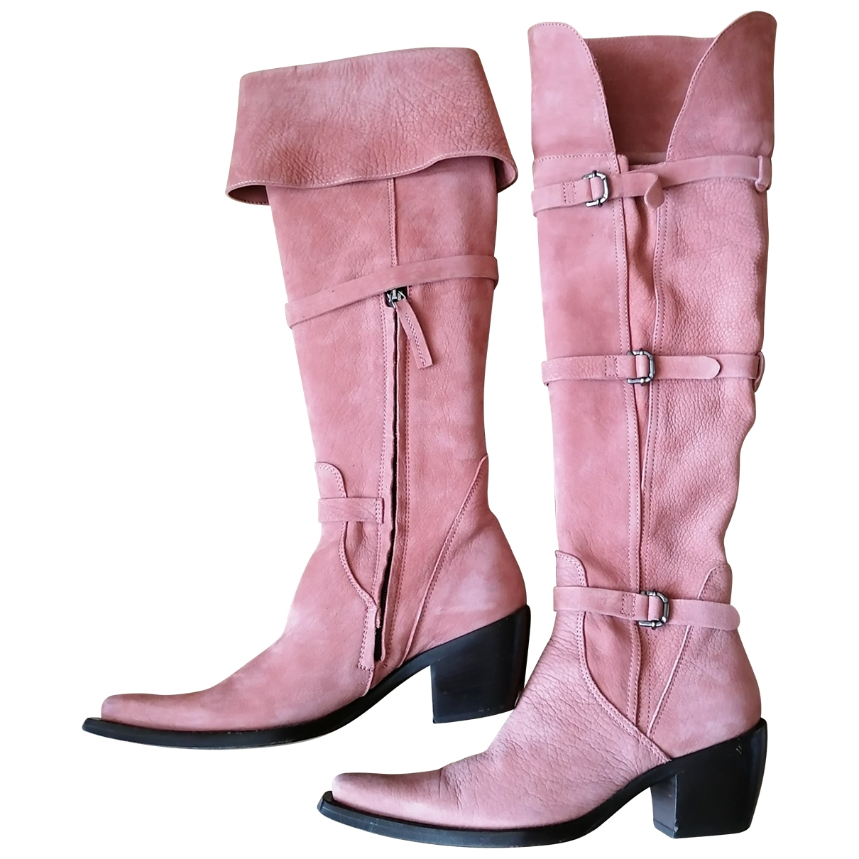 Non Signé / Unsigned \N Pink Suede Boots for Women 35.5 EU