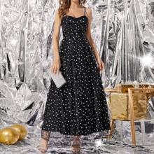 Cami Kleid mit Gaensebluemchen und Punkten Muster