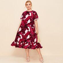 Plus Pompom Cuff Ruffle Hem Tropical Dress
