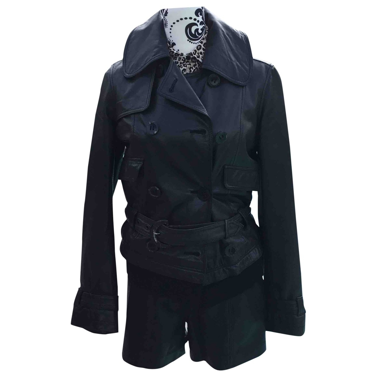 Class Cavalli \N Black Leather Leather jacket for Women 42 IT