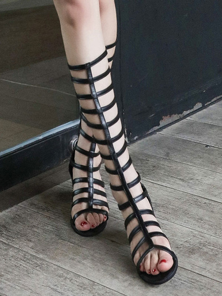 Milanoo Black Gladiator Sandals Chunky Heel Women Open Toe Cut Out Strappy Sandal Shoes