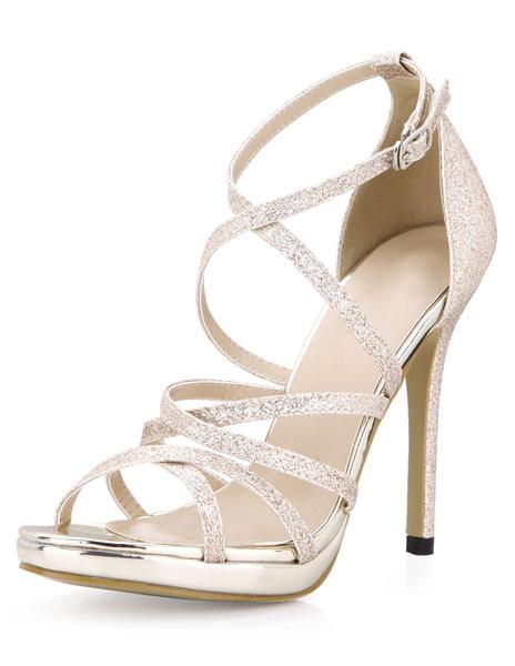 Milanoo Glitter plata sandalias de Gladiador de moda para las mujeres