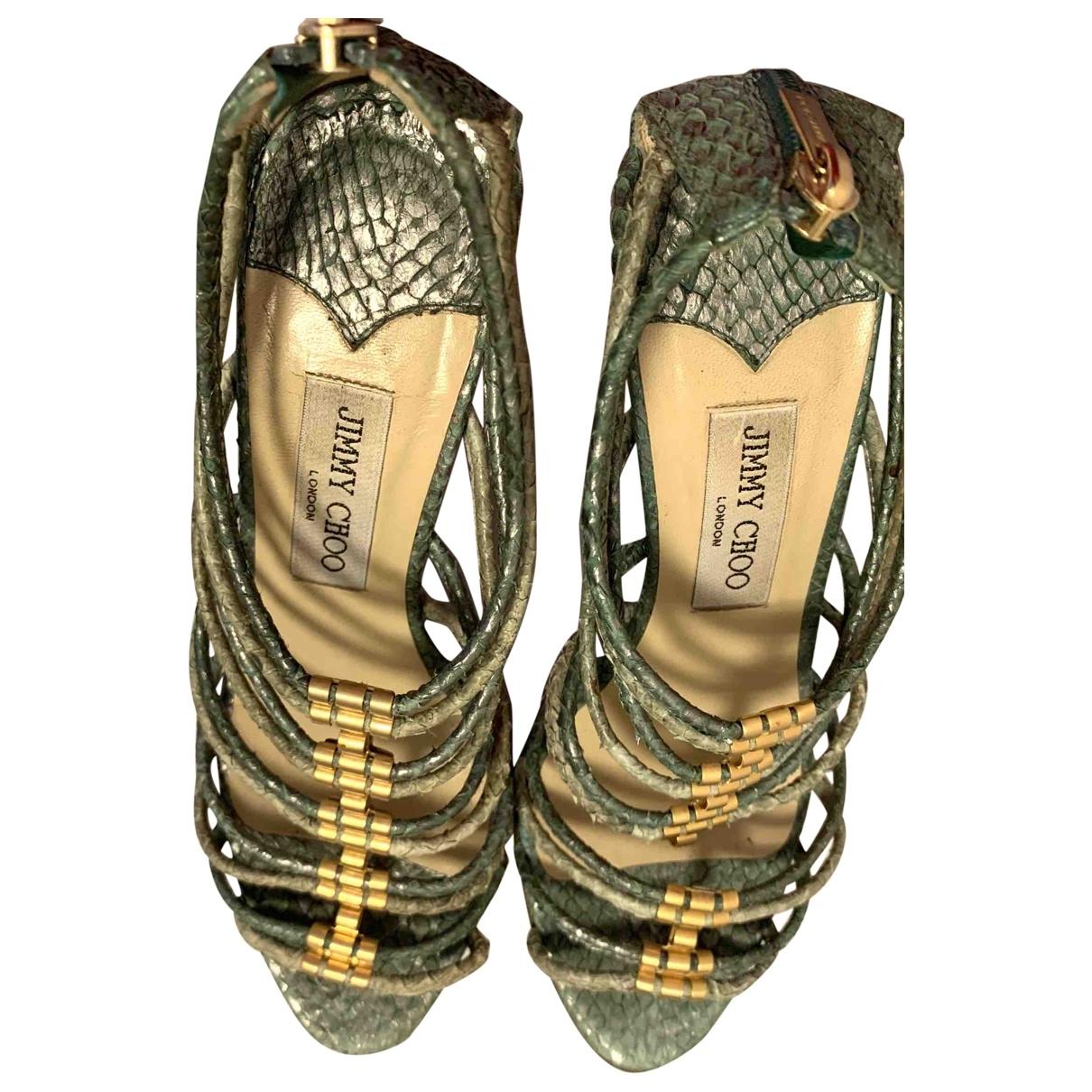 Jimmy Choo \N Green Exotic leathers Sandals for Women 37 EU