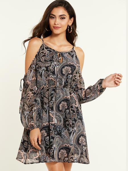 YOINS Black Random Paisley Print Cold Shoulder Dress