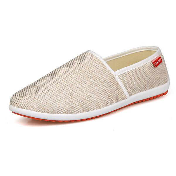New Men Shoes Lightweight Cotton Blend Slip On Breathable Flats