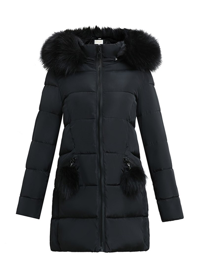 Ericdress Thick Plain Zipper Mid-Length Coat