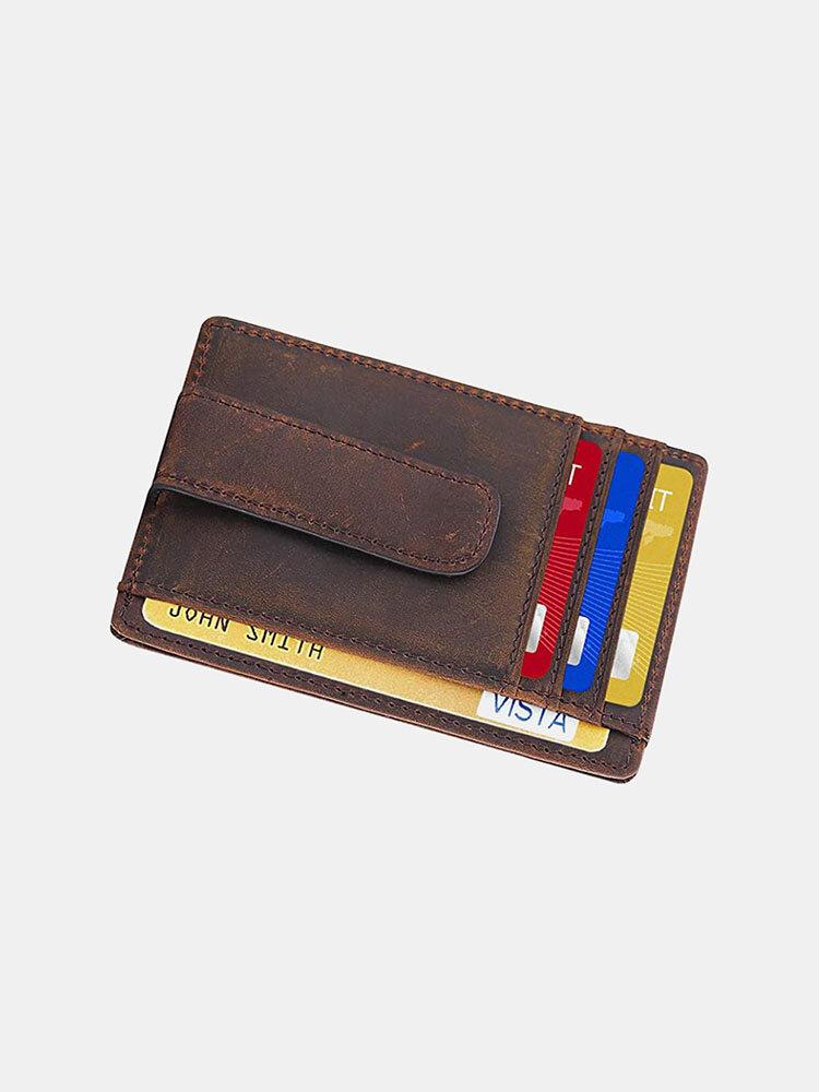 Men RFID Shielding Minimalist Leather Wallet Front Pocket Card Entrainment ID Window Wallet