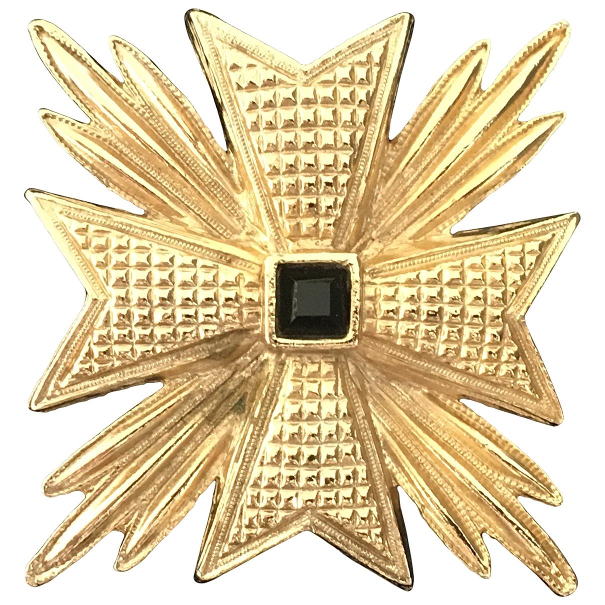 Non Signe / Unsigned Motifs Etoiles Brosche in  Gold Metall