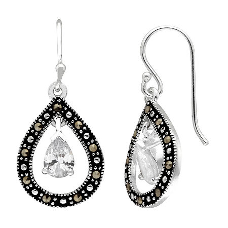 Sparkle Allure Marcasite Pure Silver Over Brass Drop Earrings, One Size , No Color Family