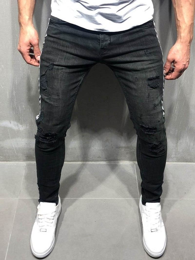 Ericdress Thin Color Block Casual Mens Zipper Jeans