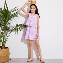 Girls Bow Detail Ruffle Neck Double Layer Schiffy Dress