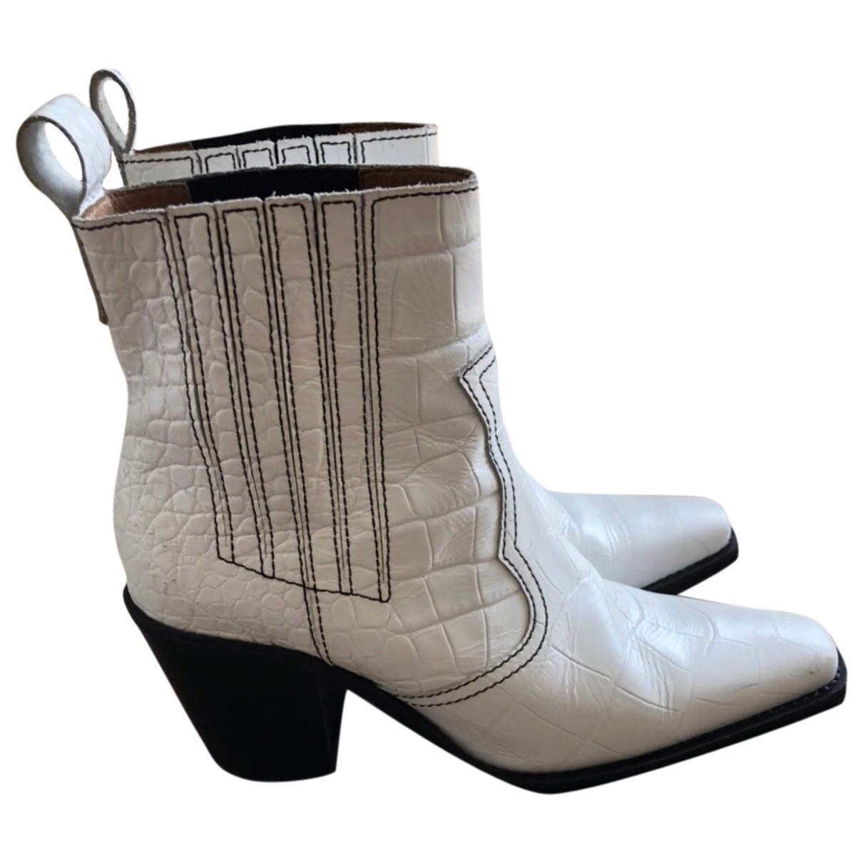 Ganni - Boots Fall Winter 2019 pour femme en cuir - blanc