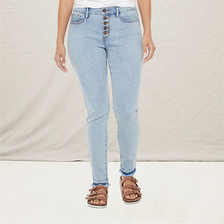 a.n.a Womens High Rise Button Fly Skinny Jean, 6 , Blue