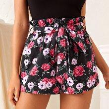 Paperbag Waist Floral Shorts