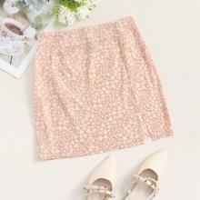 Split Hem Ditsy Floral Skirt