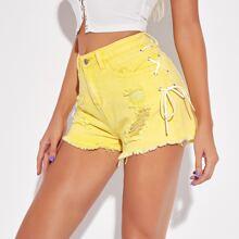 Lace Up Side Raw Hem Ripped Denim Shorts