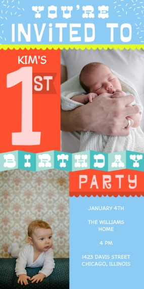 1st Birthday Invitations Flat Matte Photo Paper Cards with Envelopes, 4x8, Card & Stationery -First Birthday