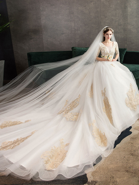 Milanoo Princess Wedding Dress Ivory Lace Appilque V Neck Half Sleeve Bridal Gown With Train
