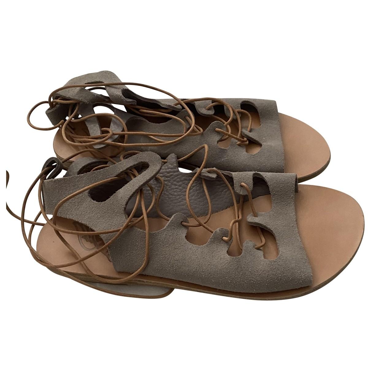 Ancient Greek Sandals \N Sandalen in  Grau Veloursleder
