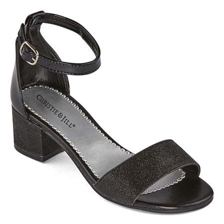 Christie & Jill Little Kid/Big Kid Girls Mallory Open Toe Block Heel Pumps, 12 Medium, Black