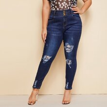 Plus Dark Wash Ripped Skinny Jeans