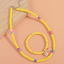 1 Stueck Armband mit Muschel Dekor & 1 Stueck Halskette