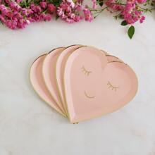 8 piezas plato desechable en forma de corazon