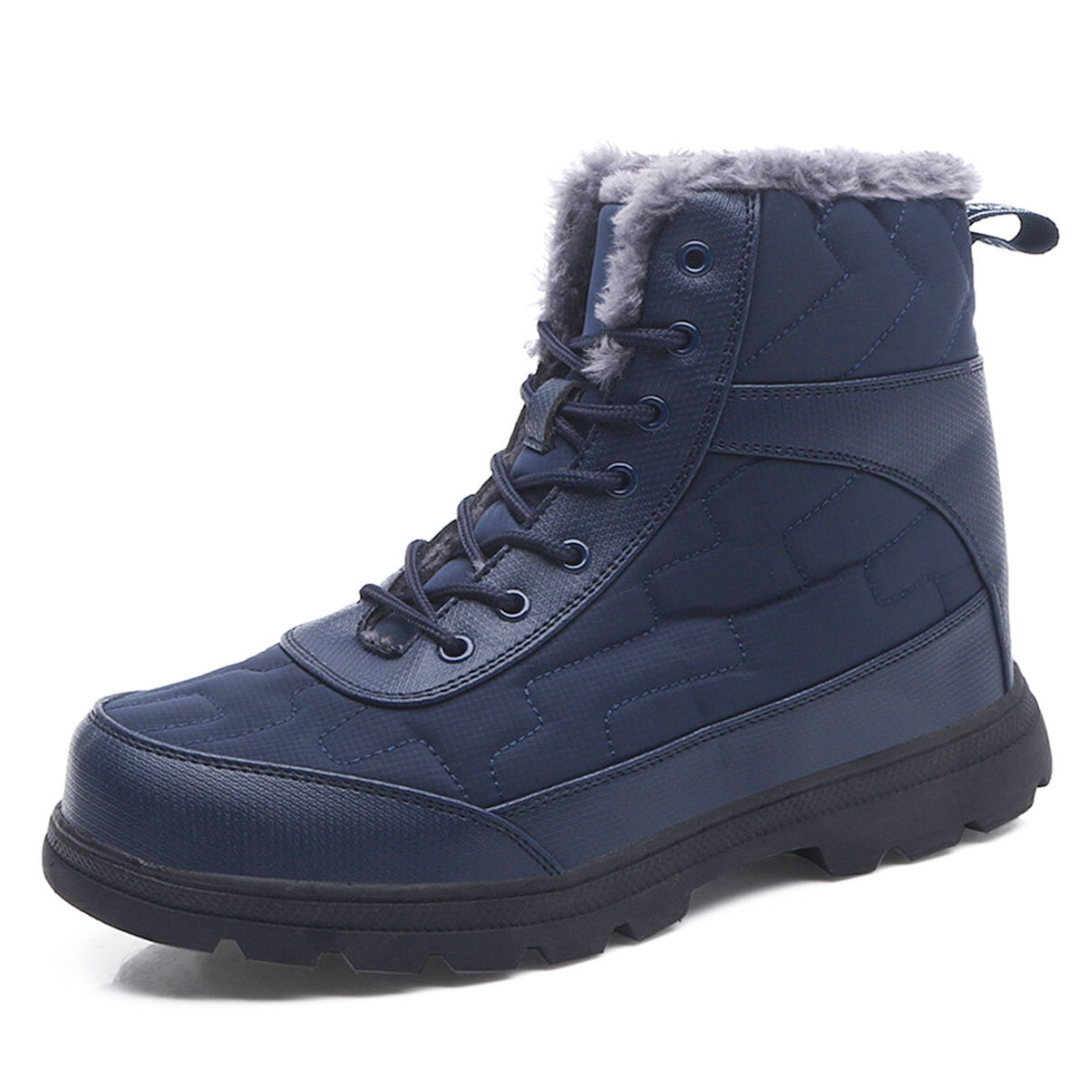 Men Comfy Warm Plush Lining Soft Sole Lace Up Casual Ankle Boots