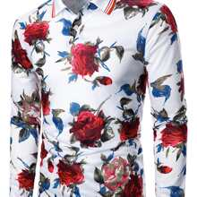 Men Floral And Striped Polo Shirt