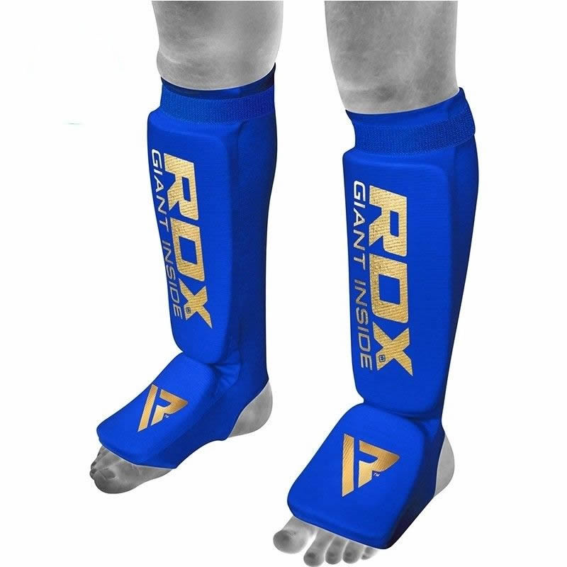 RDX SI Shin Kick Protection Pads Extra Hosiery Large Blue/Golden